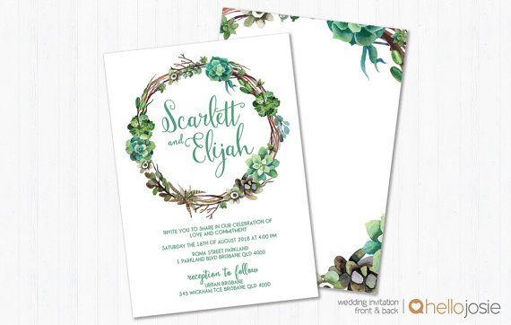 Succulent Woodland Boho Printable DIY Wedding Invitation Stationery Set