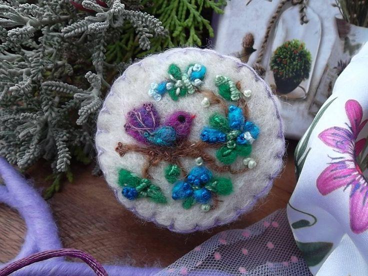 puntaspilli di lana ucellino infeltrita punta aghi di feltro ricamo regalo pasqua compleanno per mamma sorella amica regalo per lei by MondoTSK on Etsy