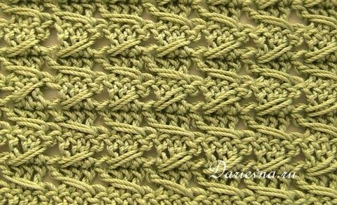 рельефный узор крючком / samurai crochet relieve stitch. Diagram with photo tutorial.