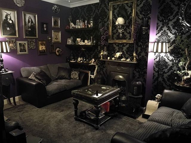 Living The Goth Dream Goth Gothic Gothicdecor Alternative Macabrelife Wallpaperford Gothic Living Rooms Living Room Design Decor Purple Living Room