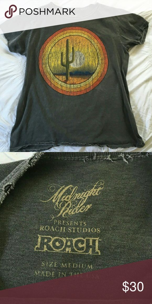 Arizona Desert Cactus Midnight Rider Graphic Tee Worn a few times. Excellent condition. Meant to be faded and frayed. Smoke and pet free home. Size medium. Urban Outfitters Tops Tees - Short Sleeve