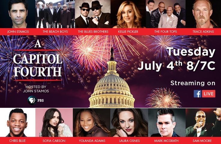 Please tune in on Tuesday, July 4th, 2017 on PBS to help us celebrate America's 241st birthday and see our amazing talent #July4thPBS #TheFourTops #YolandaAdams #KelliePickler #TraceAdkins #SamMoore #LauraOsnes #TheBluesBrothers #ChrisBlue #JohnStamos #MarkMcGrath #SofiaCarson #TheBeachBoyshttp://www.pbs.org/a-capitol-fourth/home/