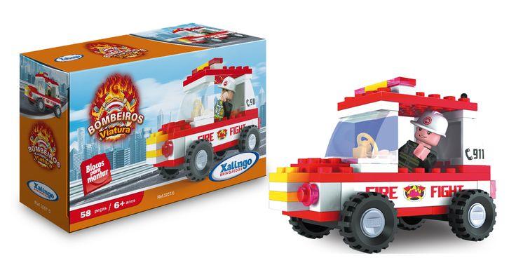 0257.6 - Blocos de Encaixe Bombeiros Viatura   Contém 58 peças.   Faixa Etária: +6 anos   Jogos e Brinquedos   Xalingo Brinquedos   Crianças