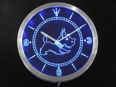 nc0376-b Old Fashioned Scottie Dog Shop Neon Sign LED Wall Clock Wholesale Dropshipping
