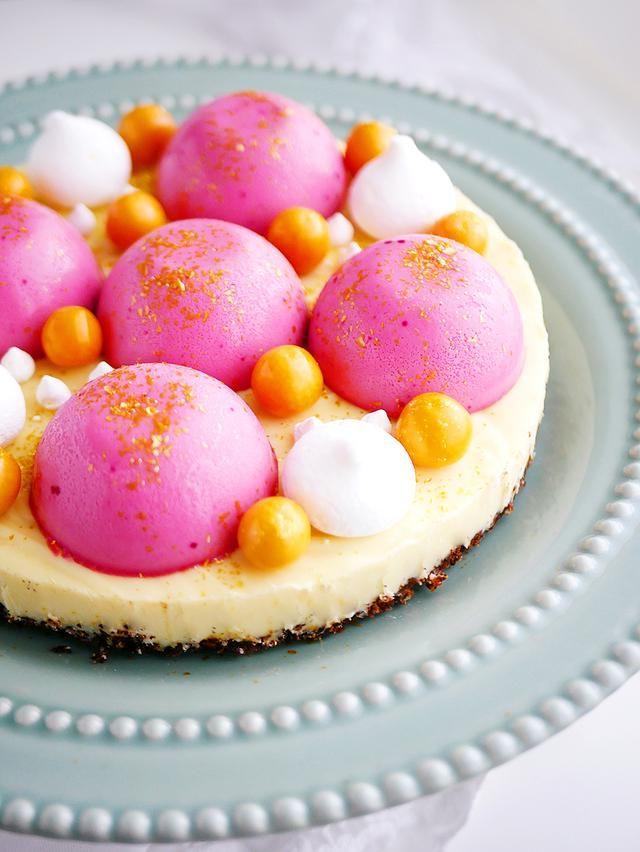 Citronfudgetårta med hallonpannacotta på nötbotten