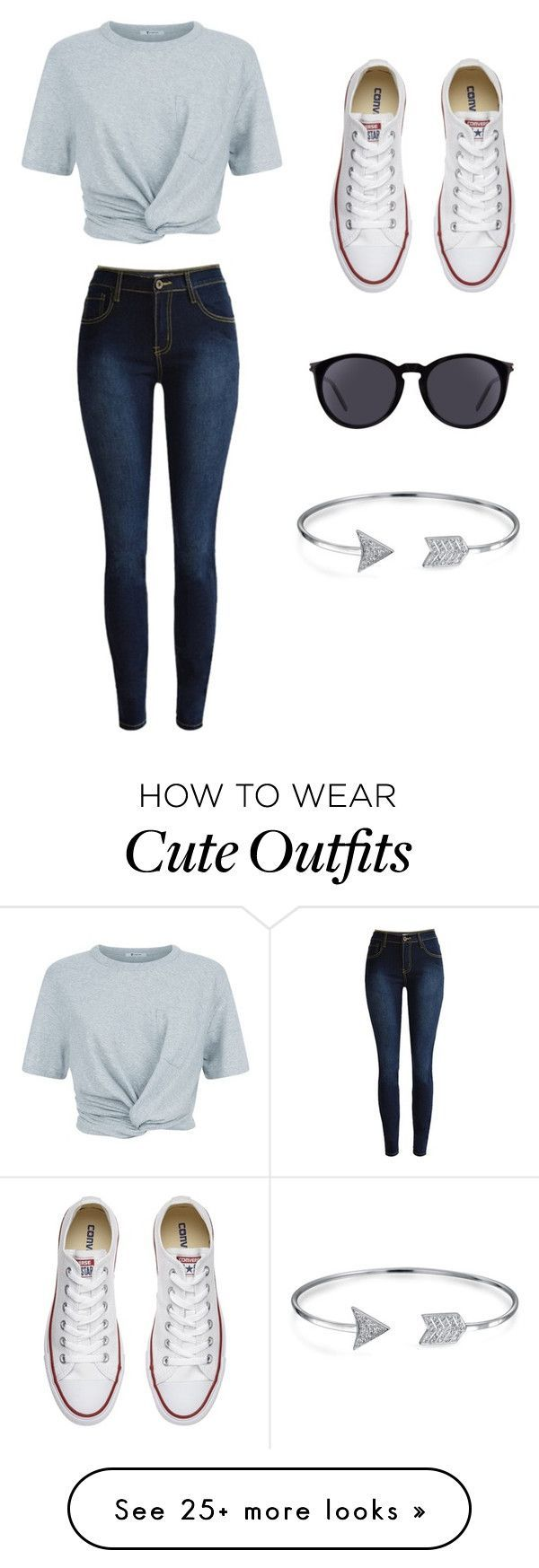 """""""cute outfits"""" by maizy-p on Polyvore featuring T By Alexander Wang, Converse, Yves Saint Laurent and Bling Jewelry"""