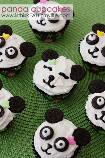Panda cupcakes -- super cute . . . especially with squinty gel frosting eyes. | isthisREALLYmylife.com #cupcakes #recipe #panda #birthday