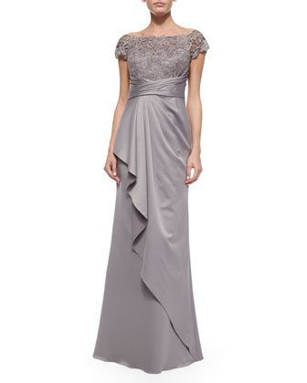 Short-Sleeve+Lace-Bodice+Drape-Skirt+Gown+by+La+Femme+at+Neiman+Marcus.
