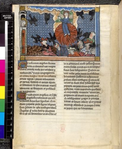 The birds summoned Apocalypse, fragment with commentary by Berengaudus France, N.E. (Lorraine: Metz or Verdun); 4th quarter of the 13th century