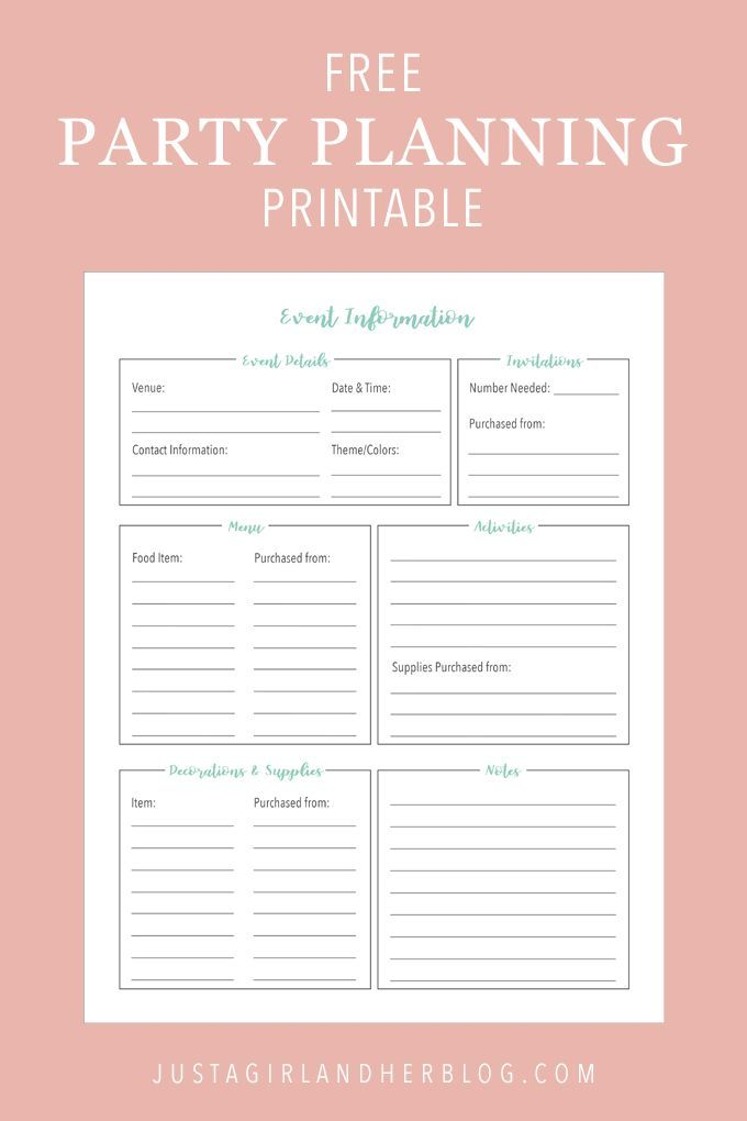 Party Planning Organized With Free Printables Party Planning