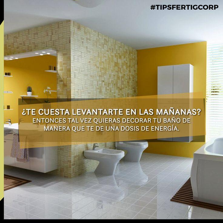 Para lograr esto el amarillo es la mejor opción. Pinta las paredes de este tono para crear un ambiente impactante e inesperado. Usa blanco para que el espacio se mantenga liviano. Úsalo en las toallas, marcos de puertas y espejo. Agrega una planta de piso, y algunos detalles anaranjados o azules. Si prefieres un look más sutil, pinta las paredes blanco y usa amarillo en acentos.  #FertigCorp #diseñobaño #diseñointeriores #diseñodeinteriores #homedesign #interiordesign #interiores #baños…