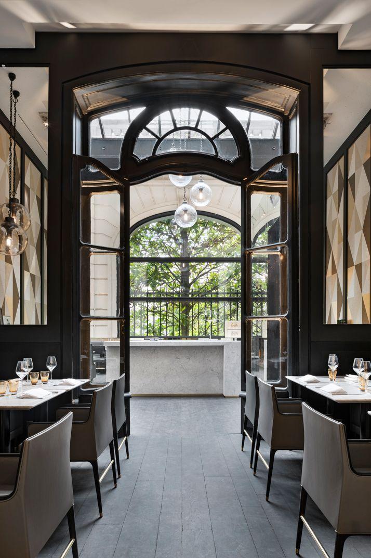 Stylish Exclusive Italian Restaurant in Classic Interior Design: Brilliant Classic Accents Door Italian Restaurant Cafe Artcurial Modern Des...
