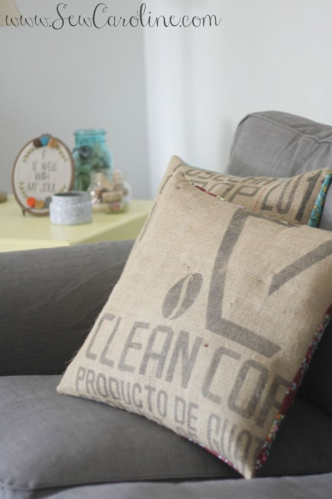 How To: Sew your own pillow covers from old burlap coffee sacks + designer fabric