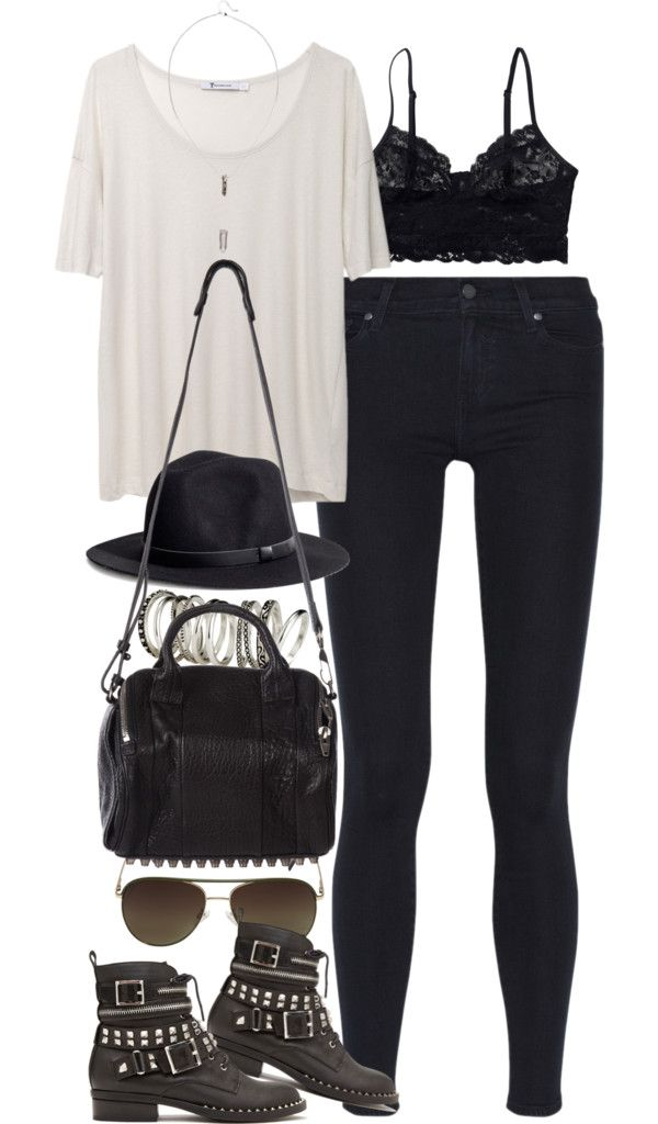 """styleselection: """"outfit for meeting up with friends by im-emma featuring aviator sunglasses"""""""