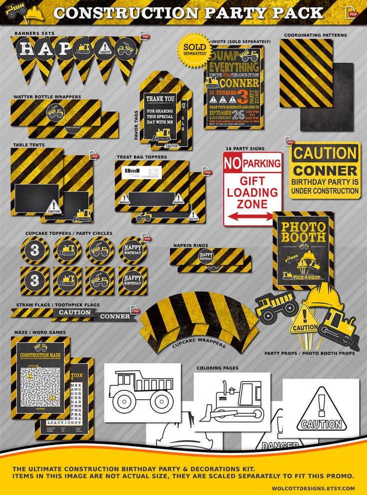 The Ultimate Construction Birthday Party / Decor Kit. Includes everything you need to trow an awesome construction birthday party. by #WolcottDesigns on Etsy