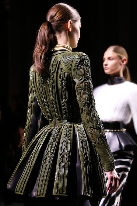 Balmain | Fall 2014 Ready-to-Wear Collection | Style.com It's like freakin' leather twizzlers all celtic-knotworked up in there, with a side of aran sweater!! Plus the whole gladiatorial armament feel mixed with Elizabethan structure. Just...HNNNGGGHHH