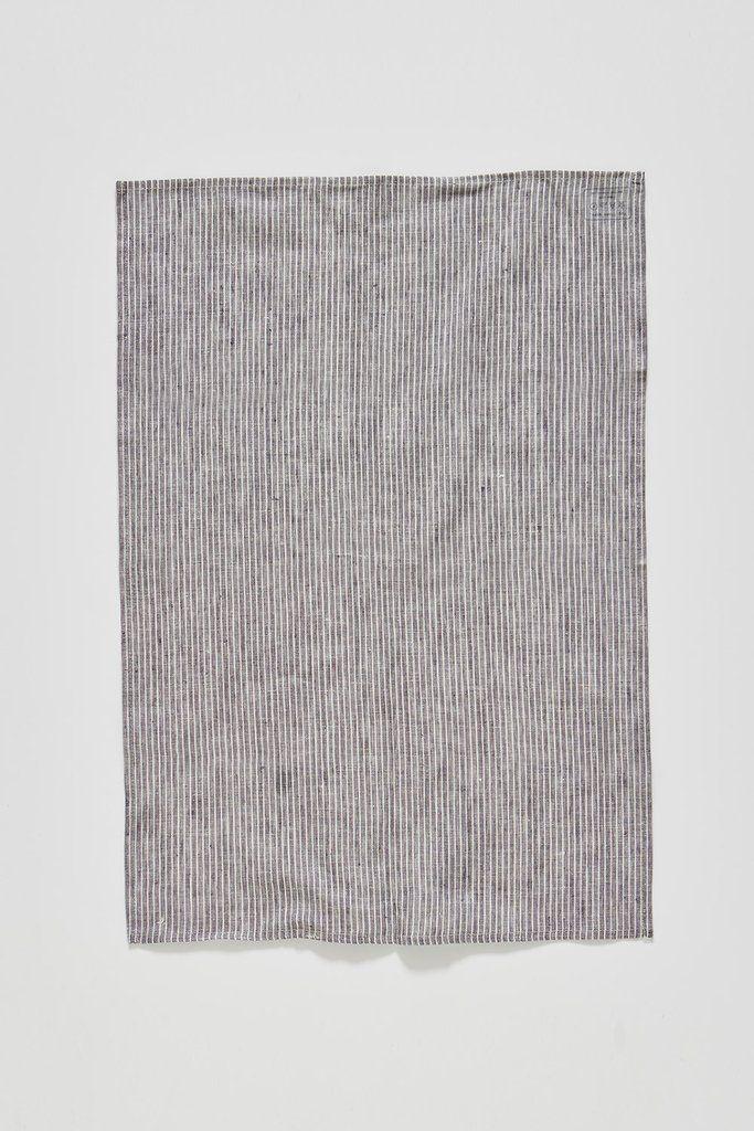 Fog Linen Tea Towel - Grey/White Stripe