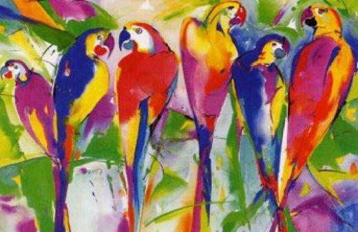 alfred gockel parrot family paintings