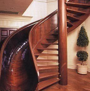Wow stairs going up and a slide going down