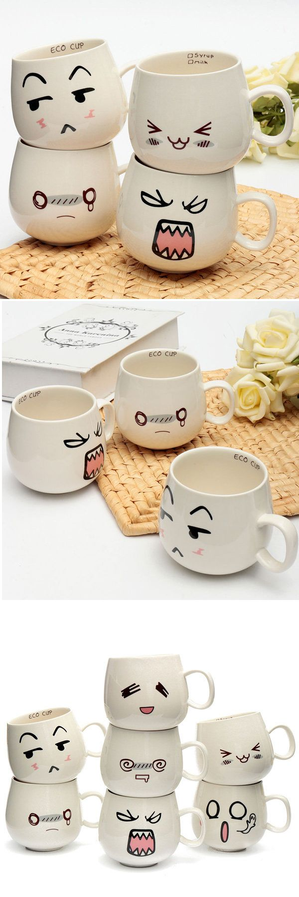 $4.99 300ml Creative Cugte Expression Ceramic Cups Cute Face Mug Tea Coffee Milk Cup