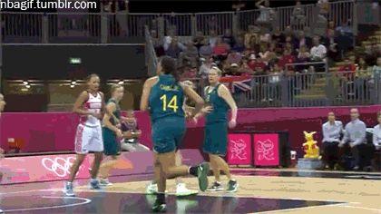 Liz Cambage dunk basketball animated GIF