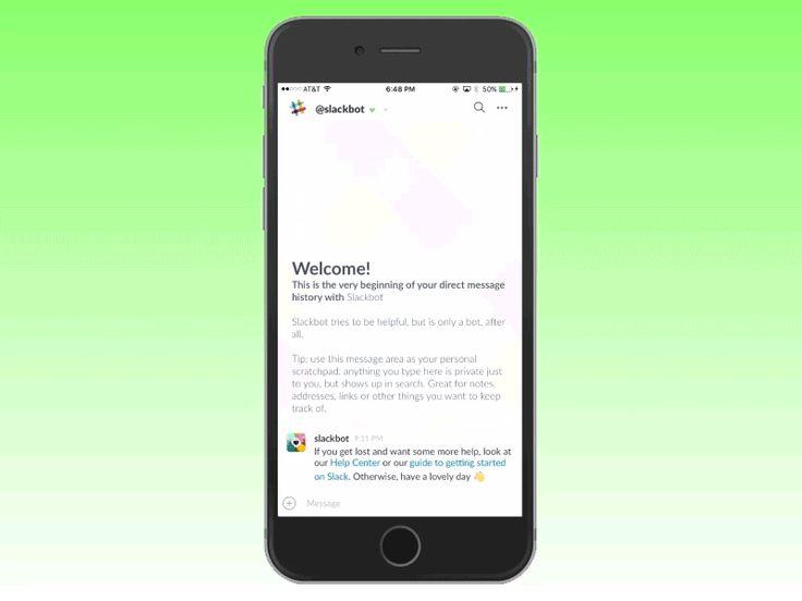 modern app design - slack menu