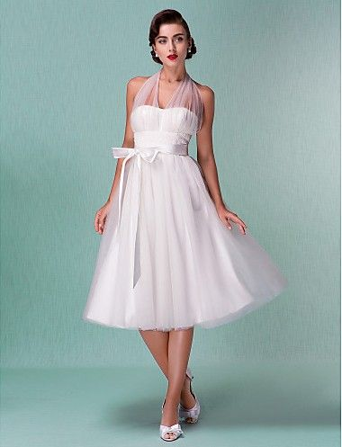 Directsale A Line Wedding Dress Empire Knee Length Tulle V Neck Halter Little White Dress With Bow and Sash Free Measurement
