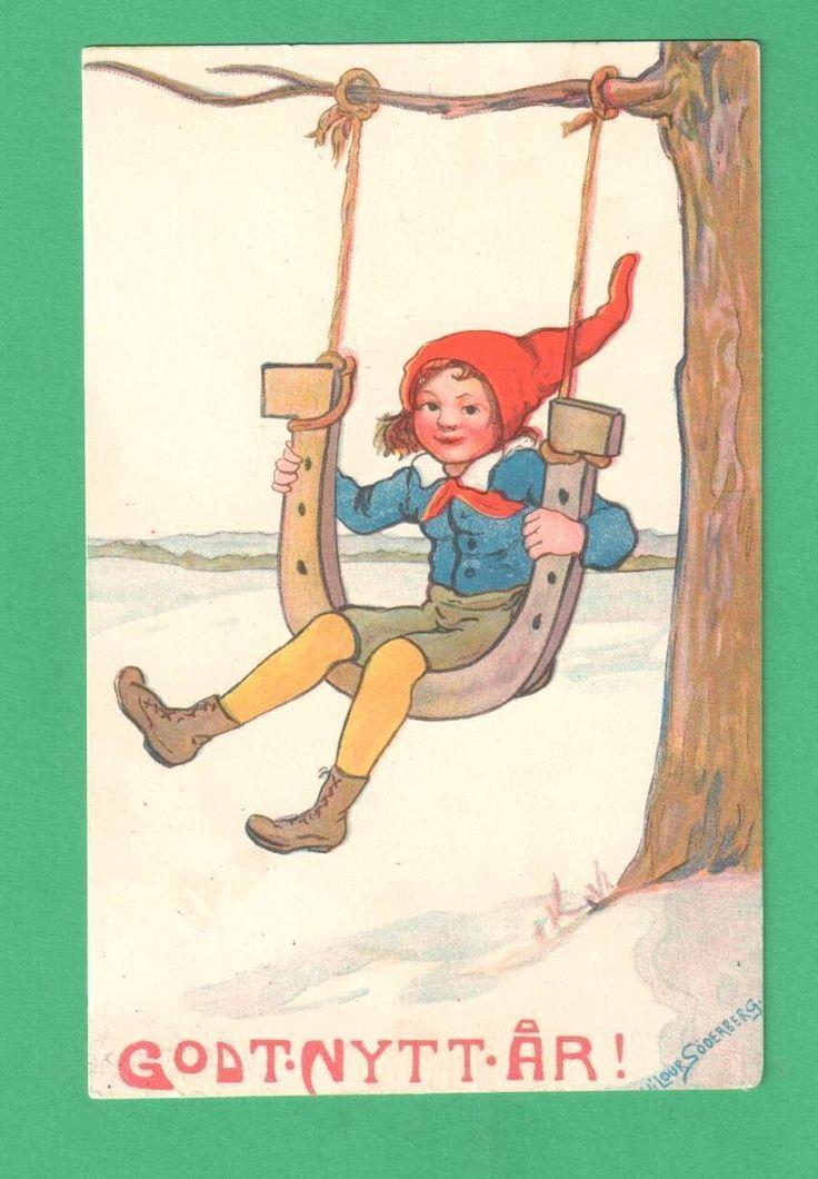 1919 NORWEGIAN HILDUR SODERBERG NEW YEAR POSTCARD GIRL SWINGS ON HORSESHOE SNOW | eBay