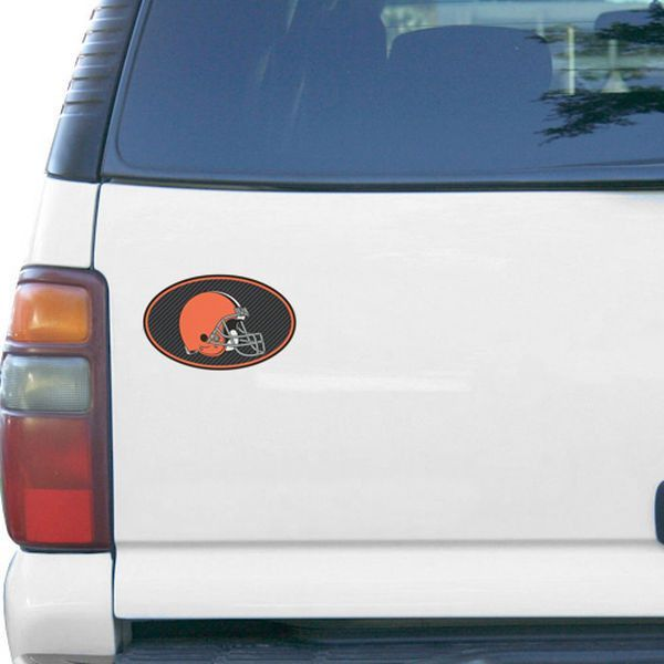 "Cleveland Browns Carbon 6"" x 6"" Oval Full Color Magnet"