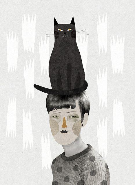 'Un gat en el cap' (A cat in the head) (2011) by French artist & illustrator Mathilde Aubier (b.1984). via Ma_thilde on flickr