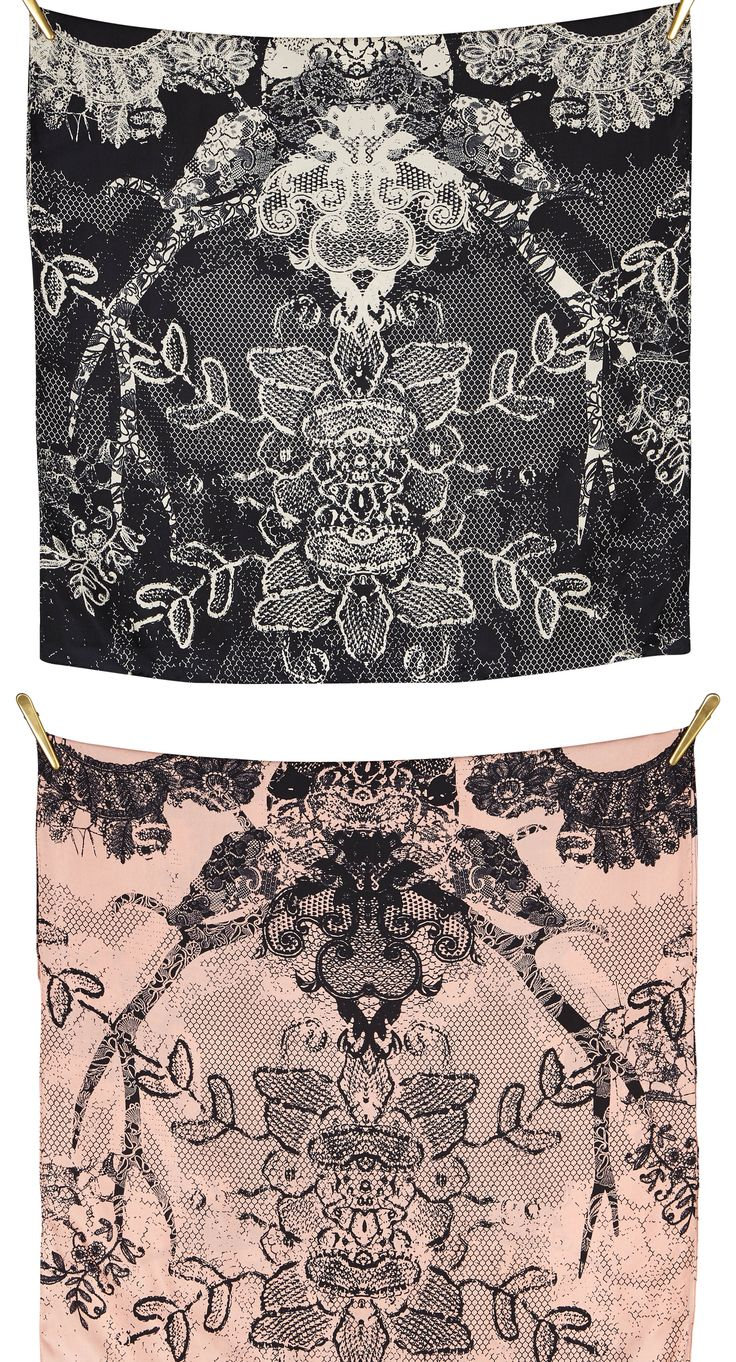FUNKY LACE silk scarf | Black/Cream size 70x190cm, in 100% Silk Twill with rolled hand stitched edges aw16 print accessories design #Danishdesign #Quality