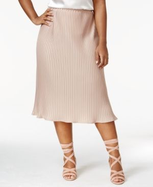 Ny Collection Plus Size Pleated Midi Skirt - Tan/Beige 2X