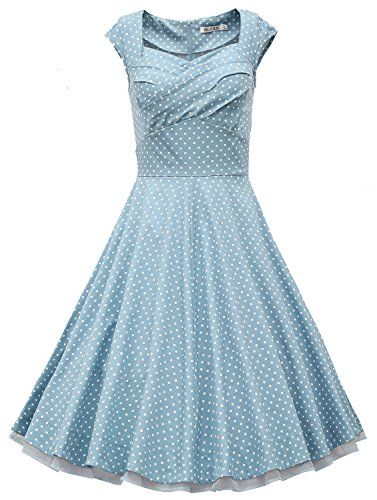 MUXXN® Women 1950s Vintage Retro Capshoulder Party Swing Dress (L, Turquoise…