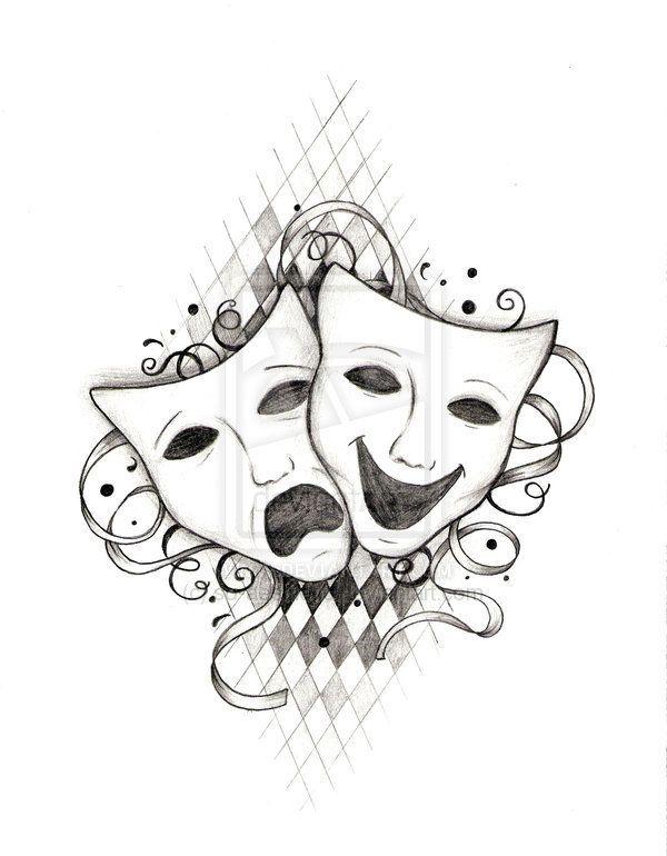 Afbeeldingsresultaat voor theatre mask drawing