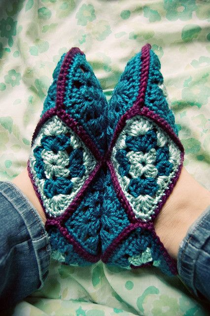 granny square slippers.  Been making these for years and love them :) !