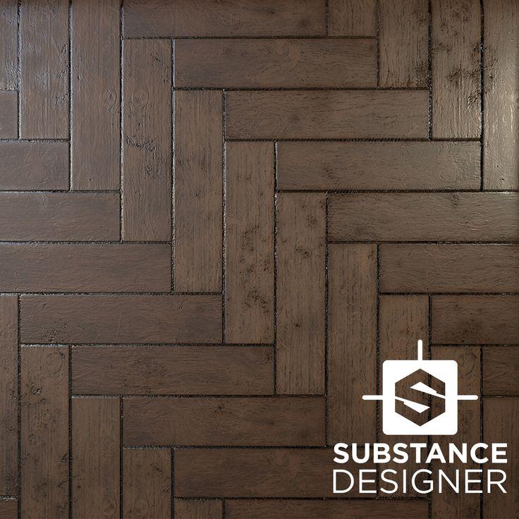 Wooden Herringbone Pattern Floor Material, Daniel Hull on ArtStation at https://www.artstation.com/artwork/W98wG