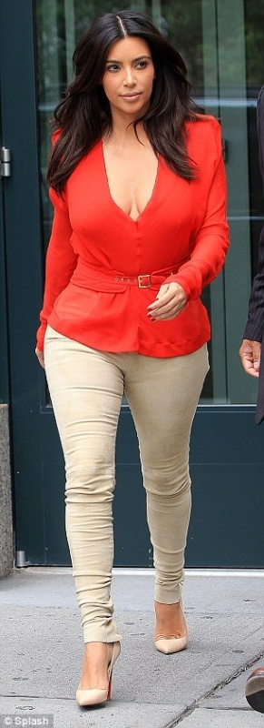 Kim Kardashion Red Top & Beige Pants