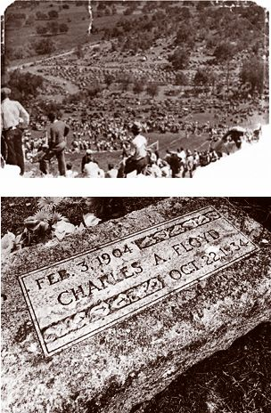 "(above)Thousands of people flocked to the funeral of Charles Arthur ""Pretty Boy"" Floyd in 1934 to view his corpse.(below)A battered and chiseled marker is all that covers the grave of the famed gangster at a cemetery in Atkins, Oklahoma"