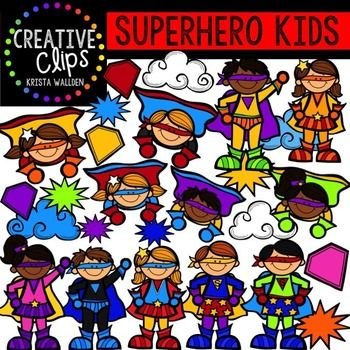 "This 47-piece set has tons of Superhero Kids that will add some ""power"" to your lessons and activities. Included i are 36 vibrant, color images of kids and 11 black and white versions.$"