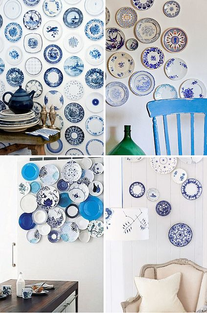 Love the pop of color this adds to a room! wall of plates by the style files, via Flickr