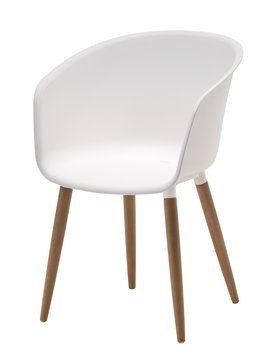 295,20zł  promo z 369zł Fotel VARMING plast./drewno tw.FSC biały