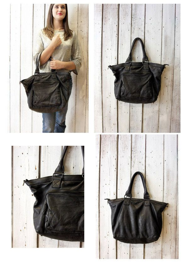 TASC bag 10-Handmade Italian black Leather Messenger Bag di LaSellerieLimited su Etsy