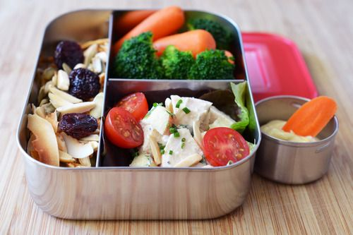 A Week of Paleo School Lunches! (Part 2 of 5) | Simple Chicken Salad, Blanched Carrots and Broccoli, Paleo Trail Mix, and Flavored Mayonnaise.