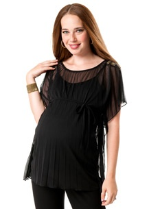 Loved By Heidi Klum Short Sleeve Boat Neck Batwing Maternity T Shirt