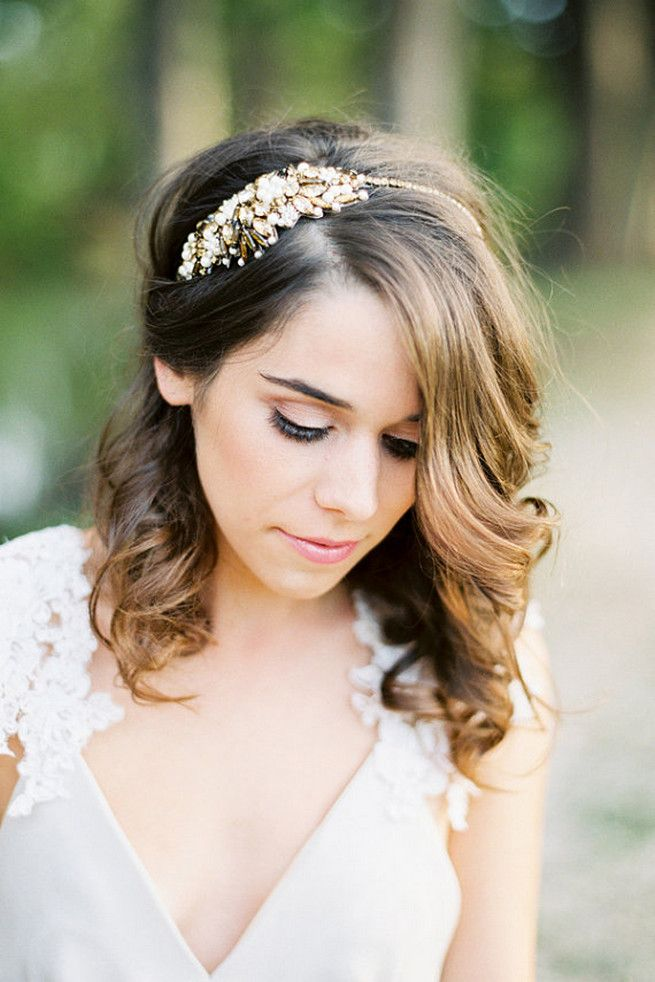 20 Romantic Vintage-Inspired Bridal Hair Styles and Head Pieces! ♥ The absolutely beautiful Megara headband from Bride La Boheme is covered in delightful bronze crystals. (Image: Loft Photographie // Gowns : Jillian Fellers Bridal and Saint Isabel Bridal )5