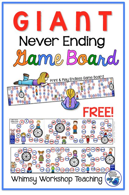 A free giant game board for practicing sight words. Just print and glue ends together - several students can play at once and when they get to the end they are prompted to turn around and go back!