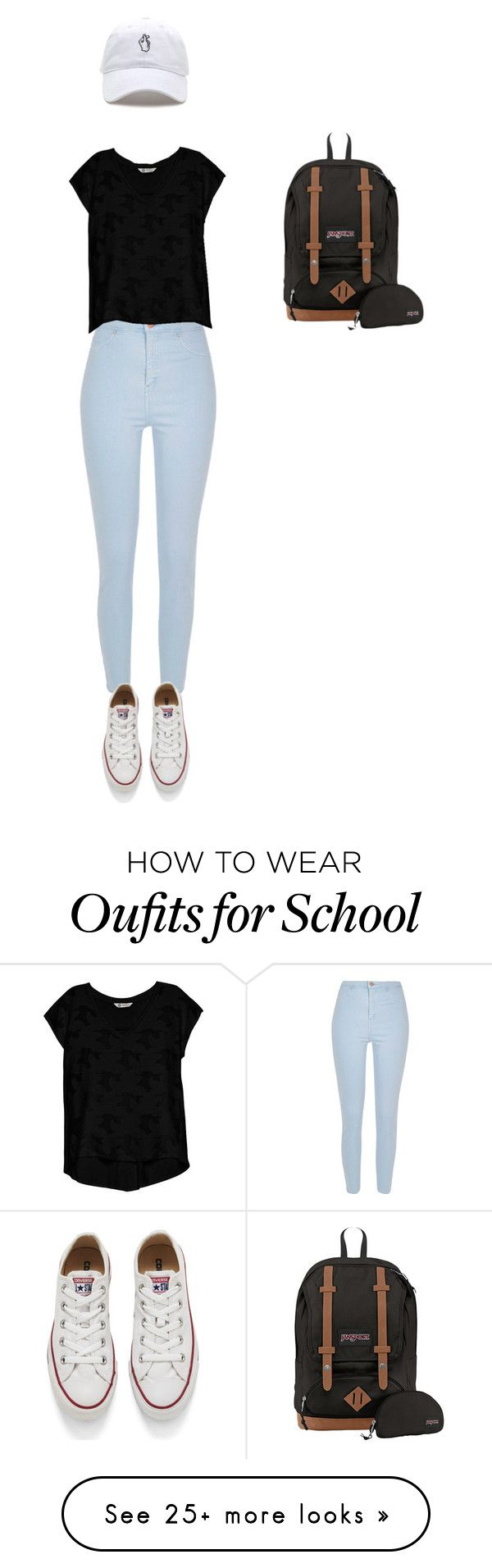 """Casual school"" by emmykang1 on Polyvore featuring River Island, Bobeau, Converse and JanSport"