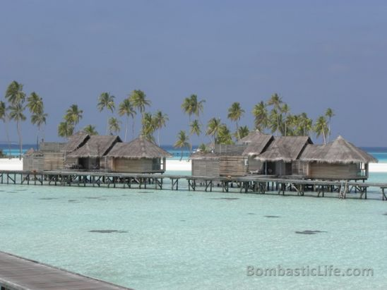 Over the water villas at W Hotel and Resort in the Maldives.