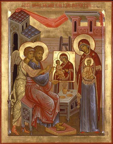"Icon of Saint Luke Writing the First Icon of the Mother of God, by the hand of Marek Czarnecki, egg tempera and gold leaf on wood panel, 28"" x 22"""