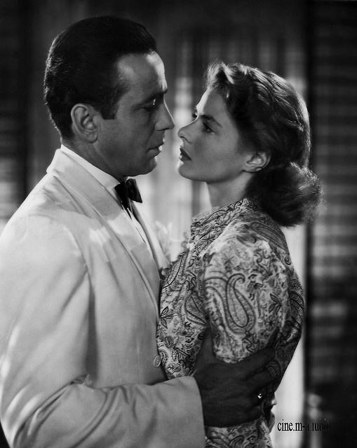 "Humphrey Bogart (1899–1957, age43) as Rick Blaine and Ingrid Bergman (1915–1982, age27) as Lisa Lund in ""Casablanca"", 1942 #actor"